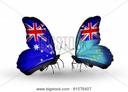 Two Butterflies With Flags On Wings As Symbol Of Relations Australia And Tuvalu