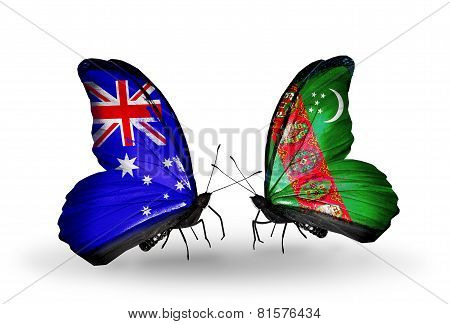 Two Butterflies With Flags On Wings As Symbol Of Relations Australia And Turkmenistan