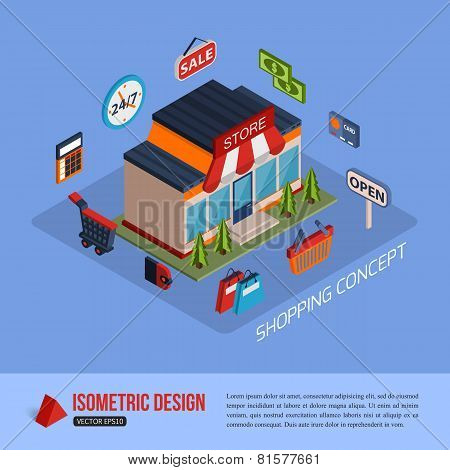 Isometric shopping concept background with place for text.