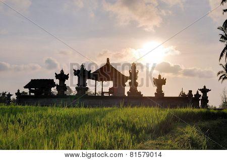 Temple in Rice paddies near Ubud, Bali, Indonesia