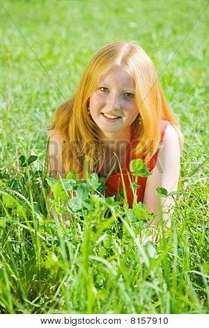 Teenager Girl  At Meadow Grass