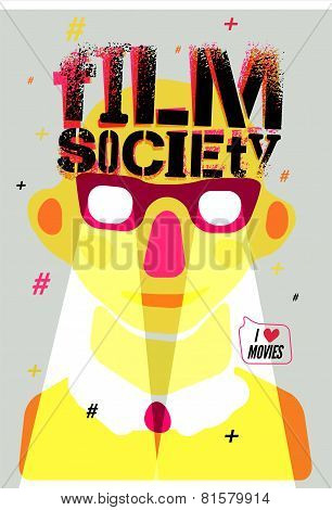 Poster for Film Society. Vector illustration.