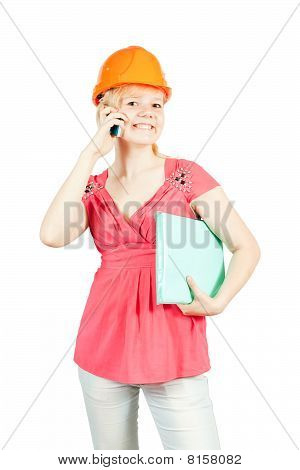 Businesswoman In  Hardhat With Mobile