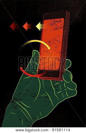 Vector illustration in retro style with hand holding smartphone, touching screen.