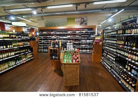 BONN - SEP 18: supermarket interior on September 18, 2014 in Bonn, Germany. Bonn officially the Federal City of Bonn, is a city on the banks of the Rhine in the German state of North Rhine-Westphalia.