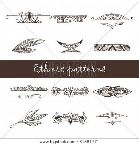 Set of different ethnic doodle patterns