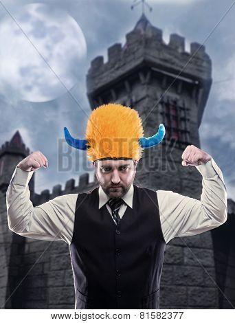 Businessman in party helmet