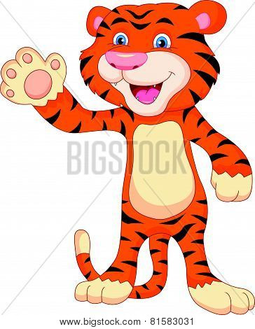 cute baby tiger cartoon waving