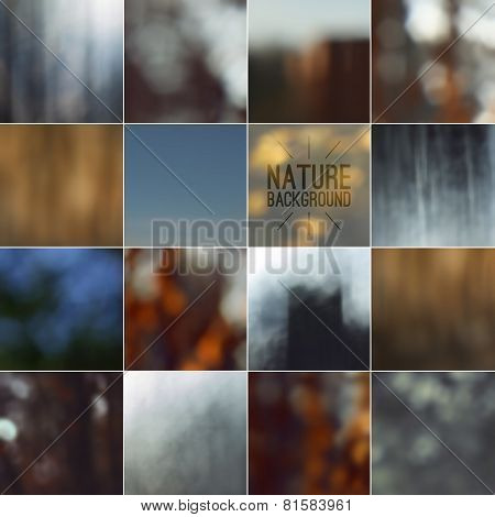 Set Of Bokeh Nature Blurred Backgrounds