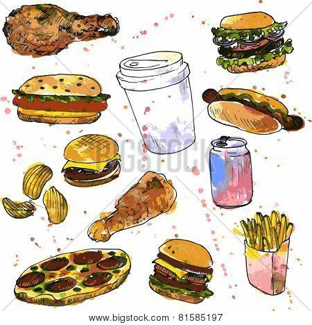 set of fast food sketch