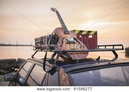 Music instrumental guitar car outdoor background