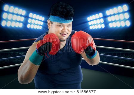 Overweight Man Ready To Boxing