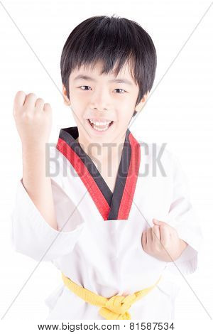 Little Boy In A Taekwondo Suit Isolated On White Background