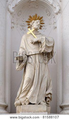 GRAZ, AUSTRIA - JANUARY 10, 2015: Saint Francis of Assisi on the portal of Mariahilf church in Graz, Styria, Austria on January 10, 2015.
