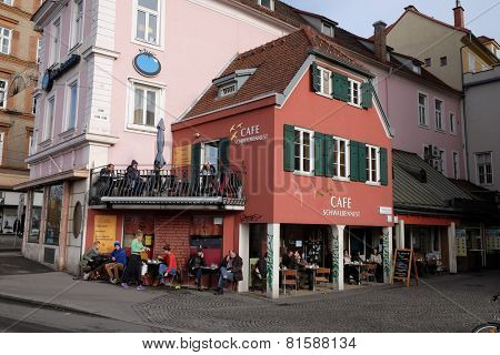 GRAZ, AUSTRIA - JANUARY 10, 2015: Cafe in the historical city center. With population of 300.000, Graz is second-largest city in Austria and capital of federal state of Styria, Graz, Austria
