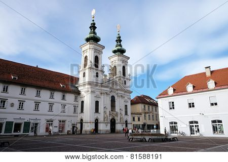 GRAZ, AUSTRIA - JANUARY 10, 2015: Mariahilf church in Graz, Styria, Austria on January 10, 2015.