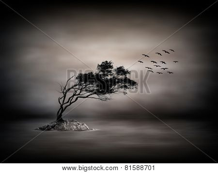 Tree on lake with some birds