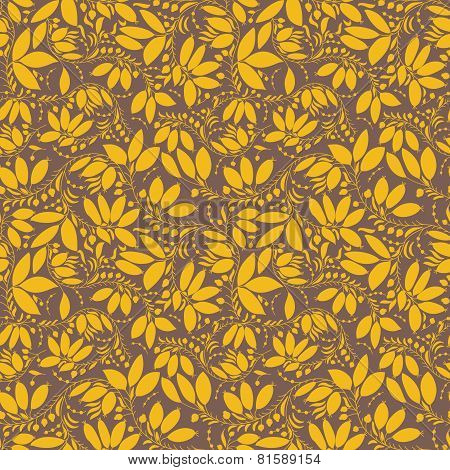 Barberry Seamless Pattern. Silhouette Of Berry Or Plants
