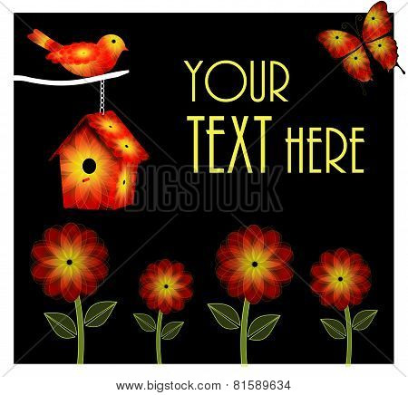 Orange and Yellow Bird and Birdhouse Garden Background