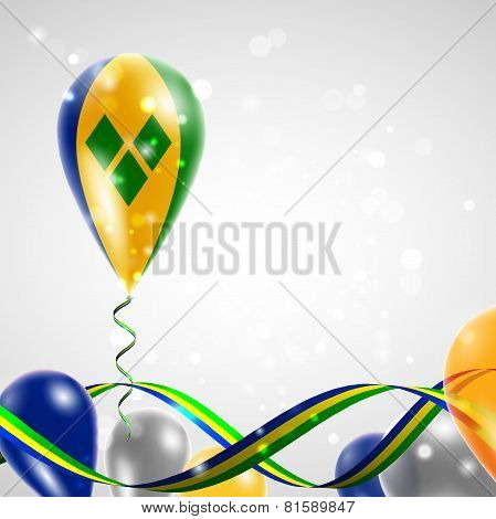 Flag of Saint Vincent and the Grenadines on balloon