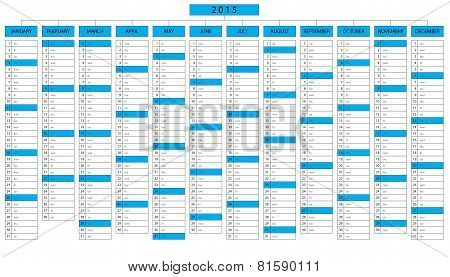 Column Calendar For Year 2015