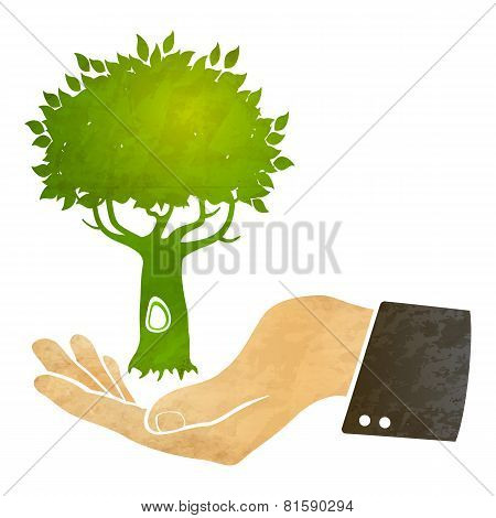 hand and tree