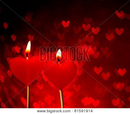 Red Hearts Candles On Red Hearts Bokeh As Background