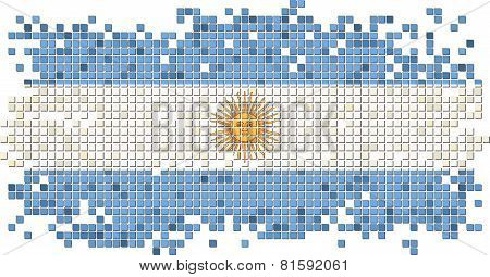 Argentinean grunge tile flag. Vector illustration