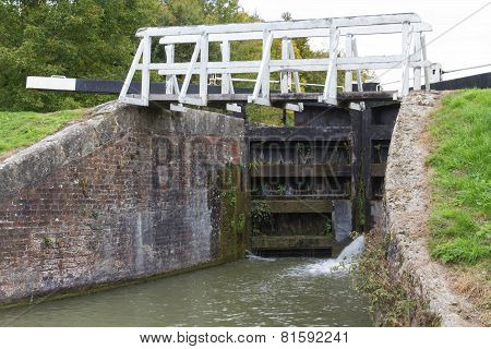 Canal Lock With Footbridge, Kennett And Avon Canal.