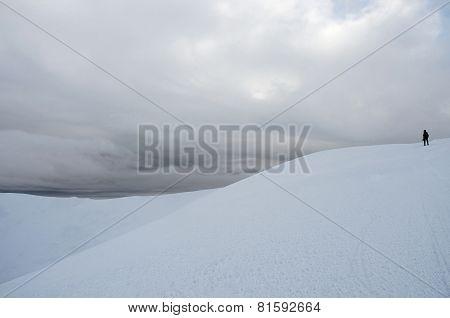 Mountaineer Standing On Top Of Gimba Mountain During Winter Snow Storm ,carpathians,western Ukraine