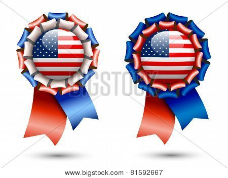 Ribbon Rosettes With American Flags