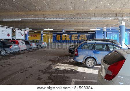 SAMARA RUSSIA - JANUARY 24 2015: Underground car parking IKEA Samara Store. IKEA is the world's larg