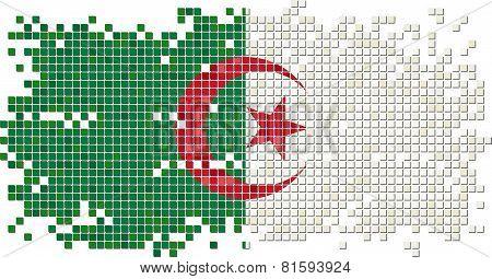 Algerian grunge tile flag. Vector illustration