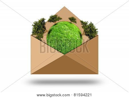 Green Planet With Trees In An Envelope