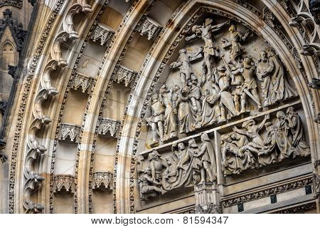 Element Of Baroque Stucco Molding Of St. Vitus Cathedral In The Czech Republic