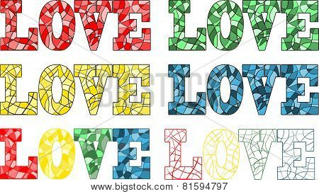 Word love in stained glass style