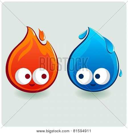 Fire and water drop.