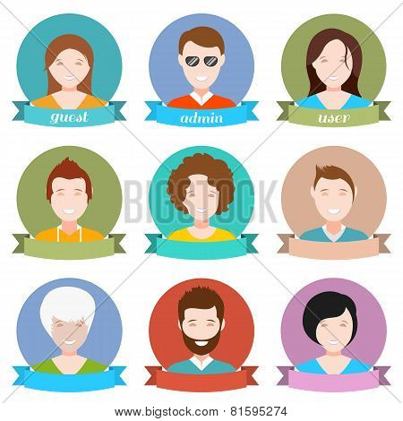 Set Of Modern People Avatar In Style Flat Design