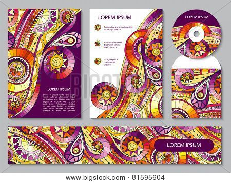 Corporate Identity Template With Tribal Doodles.