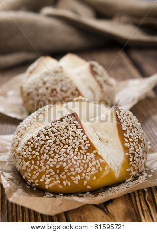 Pretzel Rolls On Rustic Wooden Background
