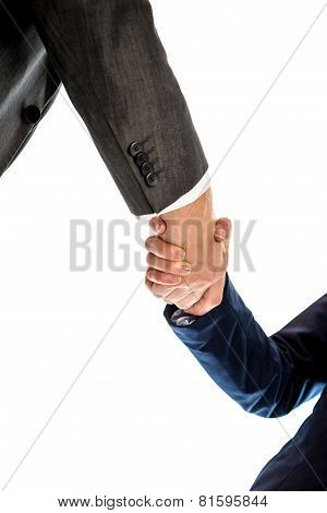 Conceptual Businessmen And Businesswoman Shaking Their Hands