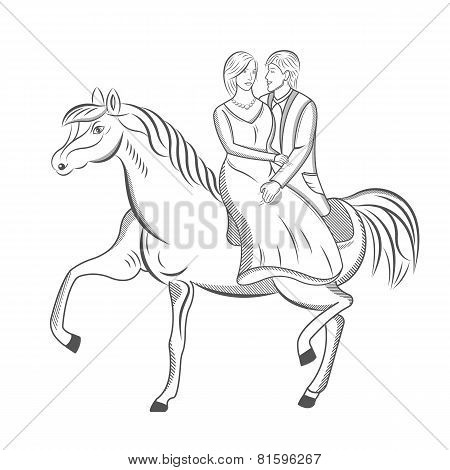 Vector Illustration Of The Prince And Princess On Horse
