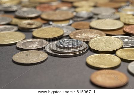 Foreign Coins, Black Background