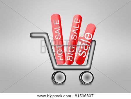 Big Sale In Shopping Cart.