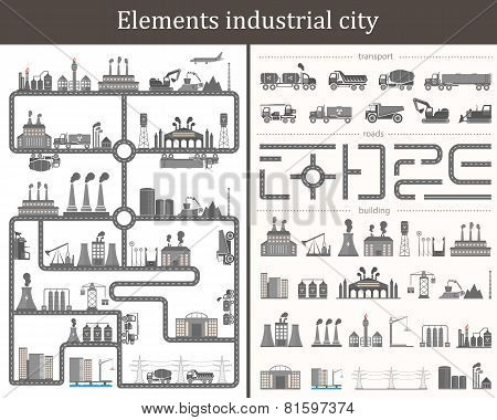 Vector Set Of Elements The Industrial City. Design Your Own City.