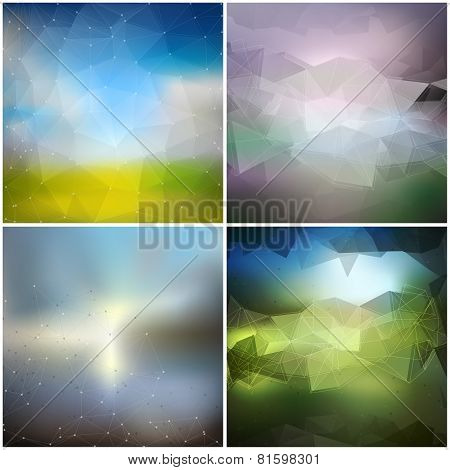 Set of blurry backgrounds. Abstract geometric colorful triangle design vectors