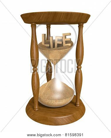 Time passing as sand in an old hourglass trickles down and life runs out
