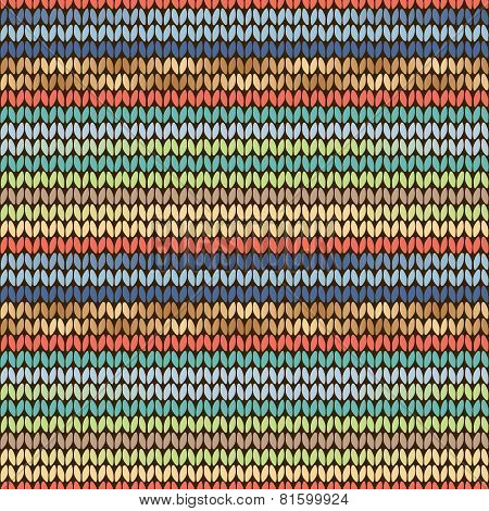Knitted Pattern Blue Green Yellow