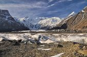 foto of shan  - Scenic Engilchek glacier with picturesque Tian Shan mountain range in Kyrgyzstan - JPG