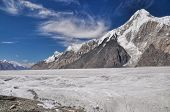 image of shan  - Scenic mountain peak above Engilchek glacier in Tian Shan mountain range in Kyrgyzstan - JPG